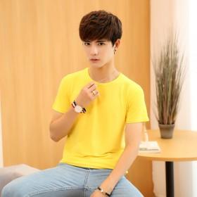 2017夏季新款男式T恤衫韩版修身纯色短袖T恤男