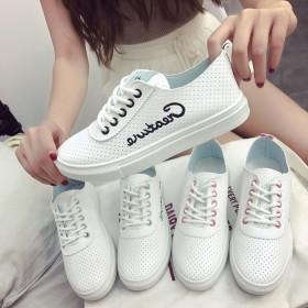 小白鞋女 百搭 学生 原宿 简约系带平底浅口鞋透气