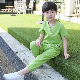 韩版男童夏装亚麻童装套装7岁6小学生5中大童两件套