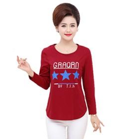 中老年女装秋装长袖T恤棉上衣T恤40-50岁打底衫