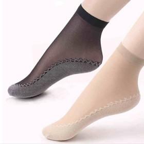 10双袜子女薄款夏季短丝袜黑色棉底防勾丝短袜