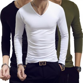 2017新款夏秋季男式t恤长袖修身圆领男装打底衫