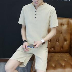 夏季亚麻短袖t恤套装男士大码休闲宽松中国风棉麻两件