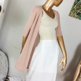 针织衫外套开衫薄款短袖冰丝空调衫外搭中长款宽松防晒