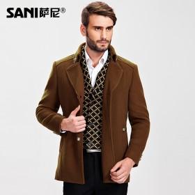 羊毛呢大衣 中长款修身毛呢外套风衣 西服领呢子大衣