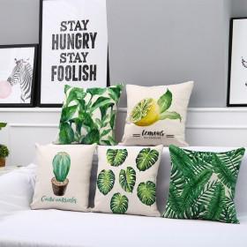 绿叶北欧风棉麻抱枕靠垫 40x40cm含芯