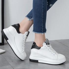夏百搭板鞋内增高系带透气网纱女单鞋厚底休闲舒适运动