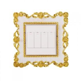 欧式开关贴墙贴创意居家亚克力电镀电源开关保护套