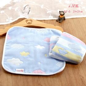 5条纯棉六层纱布儿童小毛巾宝宝卡通吸水婴幼儿口水