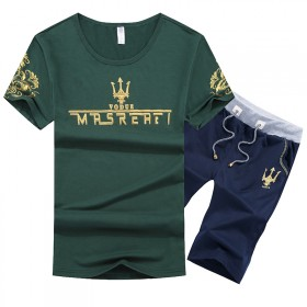 大码运动两件套装男士短袖夏季薄款透气青年韩版