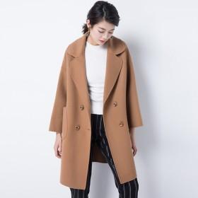 秋冬宽松大码羊毛双面呢大衣女休闲百搭开叉带兜
