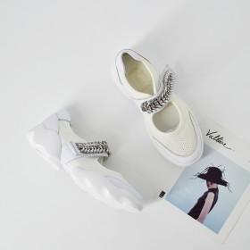 平底水钻魔术贴厚底低帮鞋松糕底帆布休闲洞洞鞋凉鞋