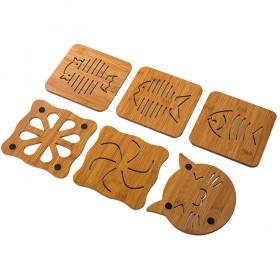 10个装 大号镂空卡通木质杯垫隔热垫厨房防烫防滑餐