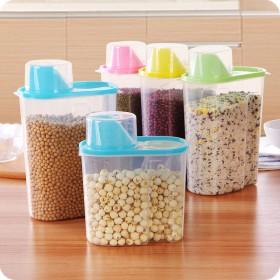 4个装 大号2.5L塑料密封罐食品储物罐