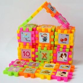 益智儿童宝宝塑料积木男童女童识字人物水果玩