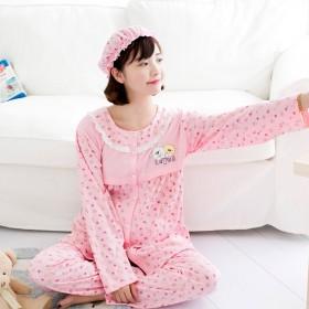 春秋季孕妇月子服全棉哺乳睡衣  带月子帽