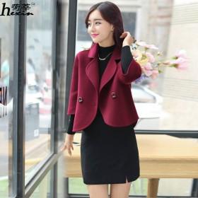 新款女装毛呢短外套女时尚修身短款呢子小西装韩版上衣