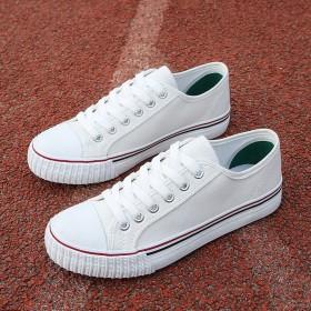 韩版百搭休闲鞋女帆布鞋学生鞋运动板鞋小白鞋白色布鞋