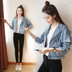 韩版西装领长袖短外套贴布贴花宽松上衣牛仔服潮