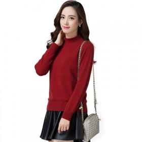 中老年女装加厚半高领羊绒衫毛衣针织衫妈妈装羊毛衫