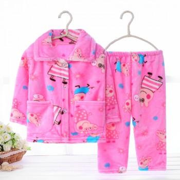 春秋季儿童珊瑚绒睡衣加厚套装