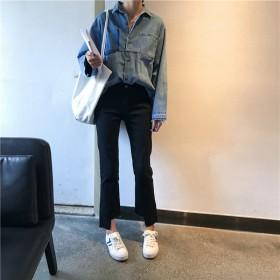 韩版的女裤秋款新款微喇叭裤女九分裤撕边牛仔裤