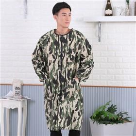 男士时尚简约迷彩拉链罩衣 厨房清洁易洗防污防油渍罩