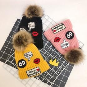加绒加厚儿童毛线帽子秋冬季男女宝宝婴儿帽1-4岁