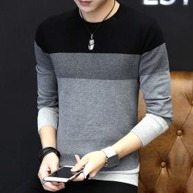 新款男士毛衣男装韩版修身条纹圆领针织衫