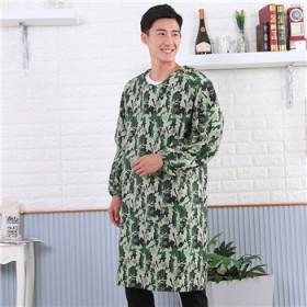 男士长袖围裙罩衣 厨房清洁系带反穿防污防油渍围裙长
