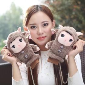手套女冬季韩版可爱卡通全指加厚保暖牛娃棉手套日系挂