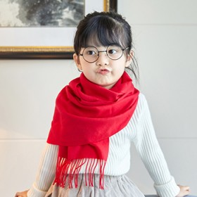 秋冬纯色儿童围巾长款加厚保暖男童女童宝宝围脖披肩