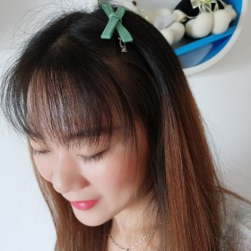 小清新的发夹蝴蝶结韩国布艺头饰一字夹成人刘海夹子边