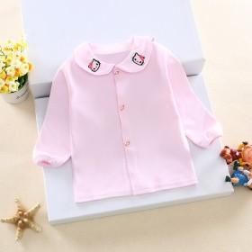 童装新款 春秋女童衬衫长袖纯棉女宝宝白色打底衫经典