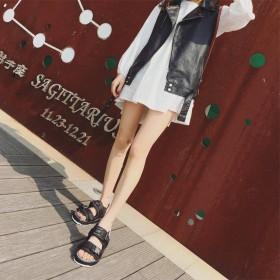 厚底凉鞋女学生平底魔术贴越南沙滩鞋