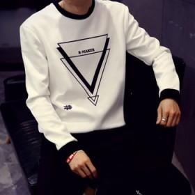 太空棉长袖T恤秋季新款男士T恤空气层体恤韩版修身