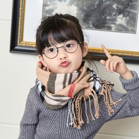 新款儿童围巾仿羊绒格子围脖男童女童围巾