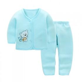秋冬宝宝套装纯棉婴儿两件套夹棉加厚打底衣0-1岁