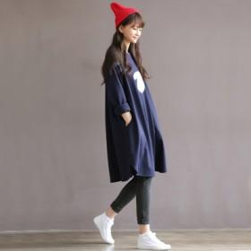 孕妇装秋装大码宽松纯棉长袖连衣裙中长款卫衣外套加绒