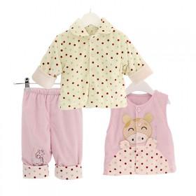 宝宝外出服秋冬婴儿棉衣三件套装满月礼品