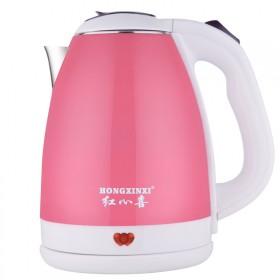 红心喜双层防烫电热水壶2L不锈钢大容量烧水壶