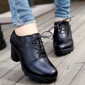 【牛皮只亏一次】【旗舰店】真皮中跟休闲系带单鞋女鞋