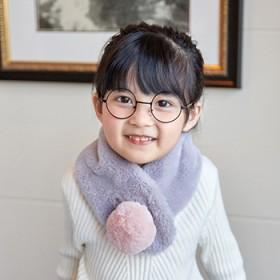冬款儿童围巾小孩纯色毛绒围脖女童宝宝围巾加厚保暖带