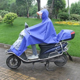 电动摩托车雨衣成人双帽檐雨披男女单人雨衣 双面罩加