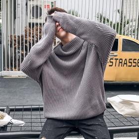 大码毛衣男士日系潮流个性高领针织衫青少年秋季宽松胖