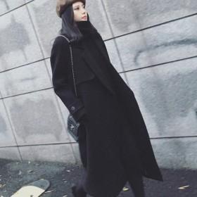 冬季新款毛呢大衣女韩版女装系腰带长款呢子外套修身