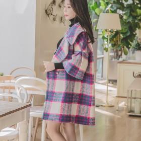 毛呢外套女秋冬新款韩版中长款格子加厚保暖大衣百搭潮