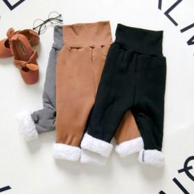 加绒加厚裤子冬季儿童护脐可开裆针织弹力棉裤保暖高腰