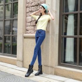 铅笔裤女高腰弹力小脚裤韩版学生牛仔裤百搭