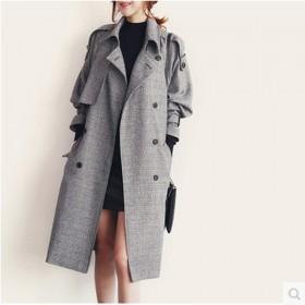 呢子大衣秋冬新款英伦格子毛呢外套女中长款韩版百搭